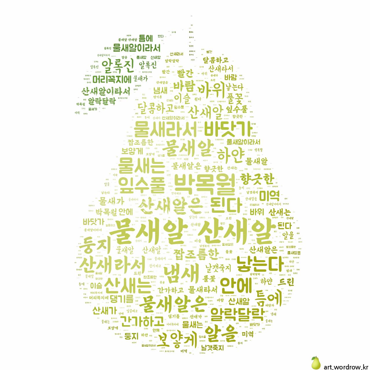 워드 클라우드: 물새알 산새알 [박목월]-36